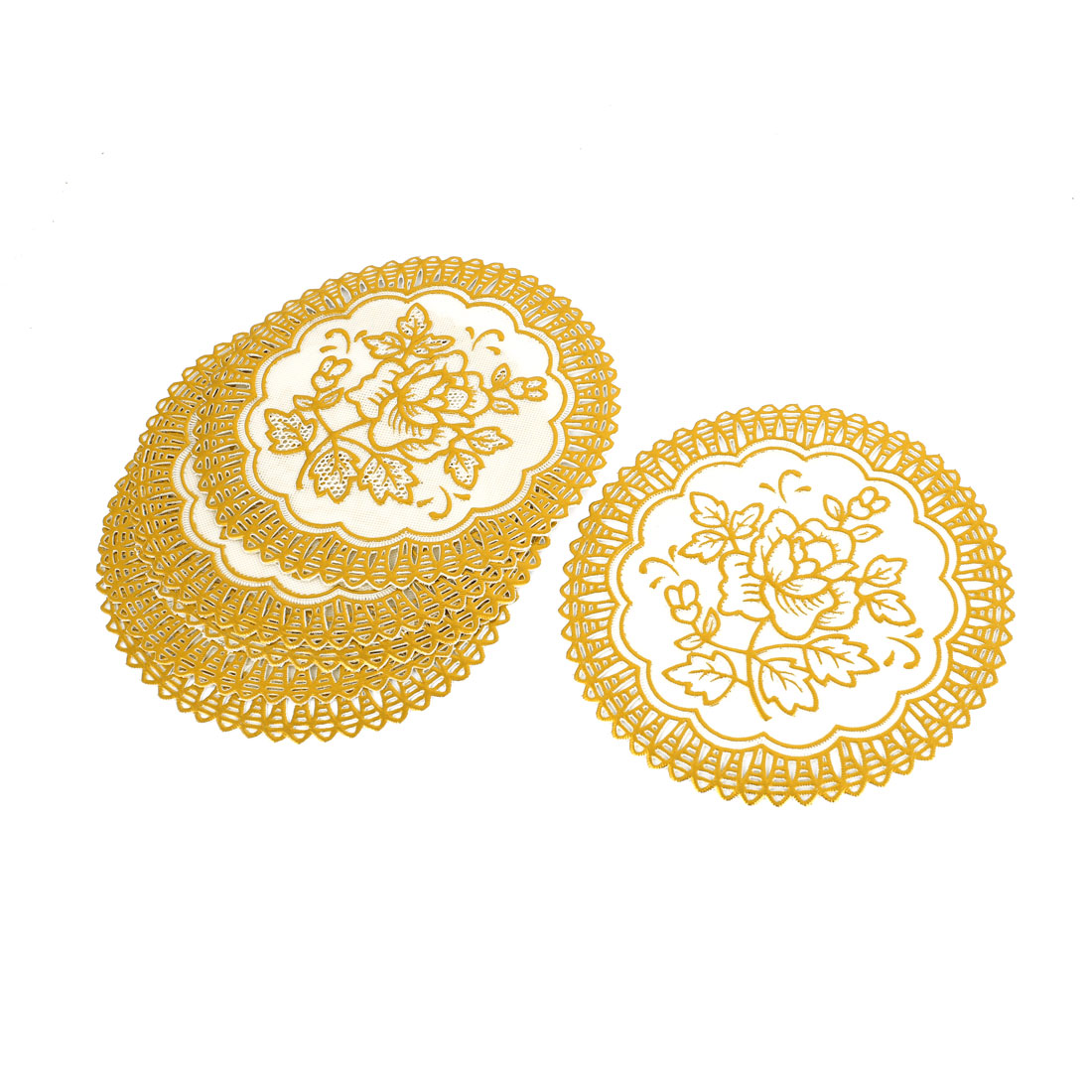 Gold Tone White Round Flower Table Coasters Cup Mat Pad
