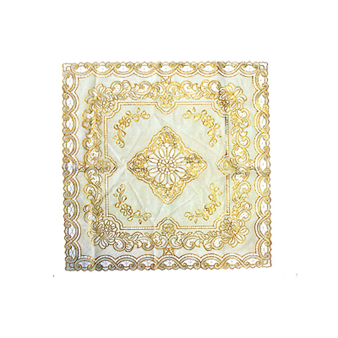 Chic Doily Runner Cover Plastic Tablecloth with Golden Embroidered