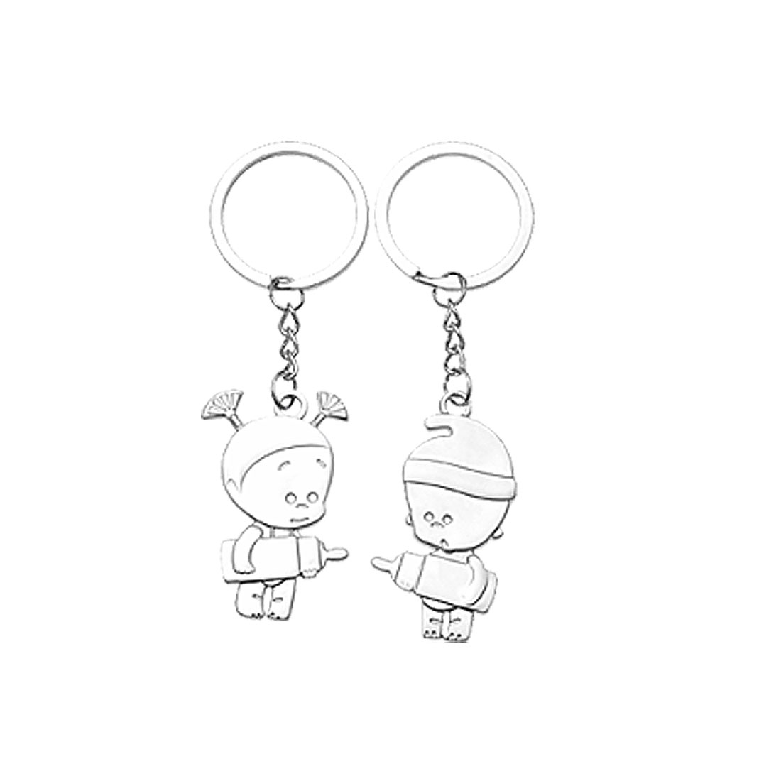 Couple Kids Girl and Boy Pendant Keyring for Lovers