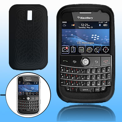 Anti-Slip Silicone Case for Blackberry 9000 - Black