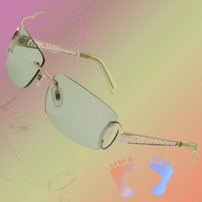 Fashion Metal Arms Clear Green Lens Unisex Eyewear Sunglasses
