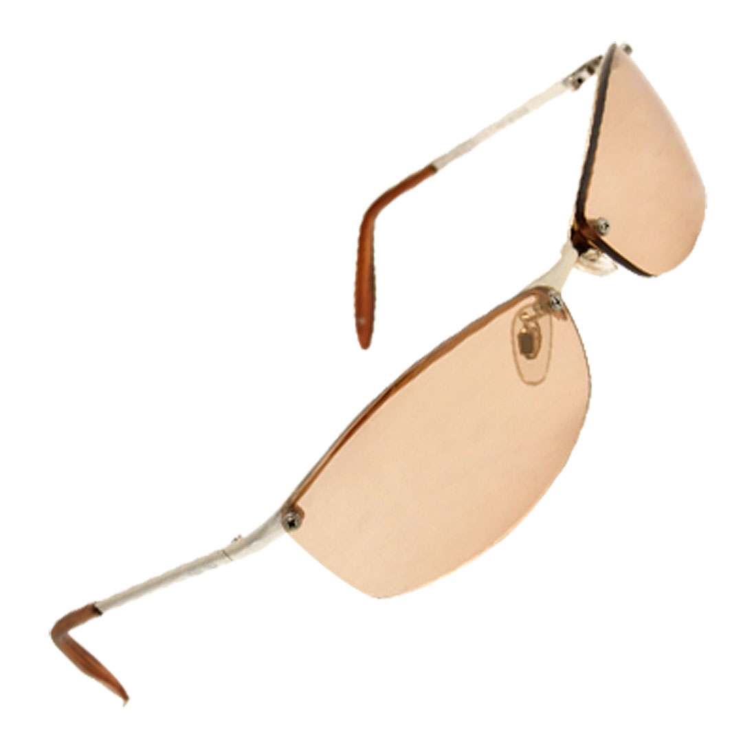 Fashion Silvery Metal Arms Tea Color Sunglasses Eyewear Spectacles