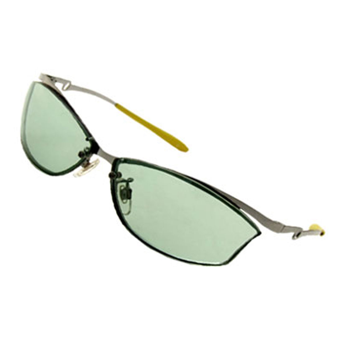 Fashion Modern Unisex Metal Arms Light Green Lens Sunglasses