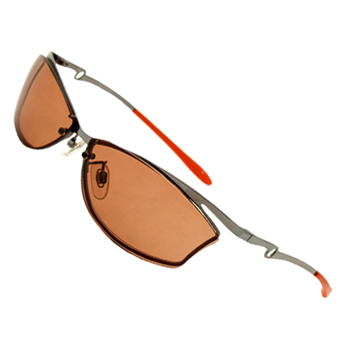 Brown Plastic Metal Arms Russety Lens Sunglasses Eyewear Spectacles