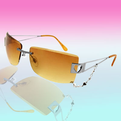 Women's Yellow Tinted Sunglasses with Chain Decoration