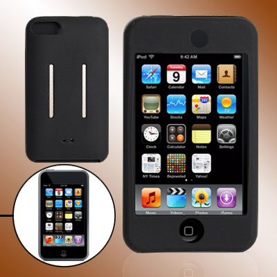 For iPod Touch 2nd 2G Black Silicone Skin Back Holder
