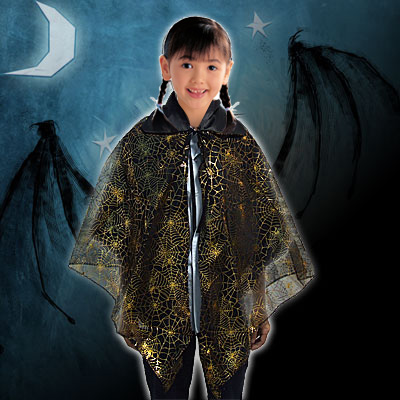Kids Spider Web Halloween Black Cape Costume Accessory