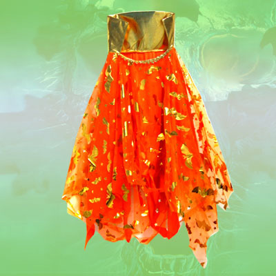 Orange Glitter Girls Bat Cape Halloween Costume with Collar