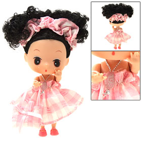 Cute Mini Plastic Girl Doll with Black Hair Pink Outfit