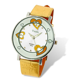 Girls' Sweet Heart Pattern Dial Golden Watchband Wrist Watch