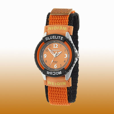 Dual Black Orange Nylon Band Children's Quartz Wrist Watch