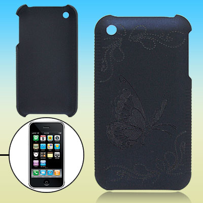 Dark Blue Hard Plastic Case with Butterfly Design for Apple iPhone 3G / 3GS