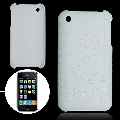White Hard Plastic Case with Heart Design for Apple iPhone 3G / 3GS