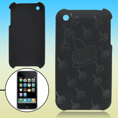 Black Hard Plastic Case with Cherry Design for Apple iPhone 3G / 3GS