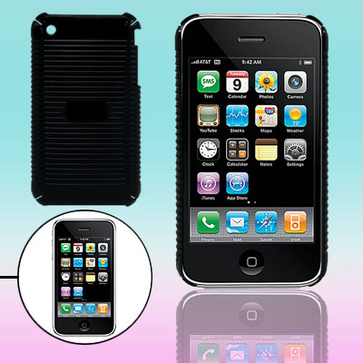 Parallel Textured Stripes Black Plastic Case for iPhone 3G