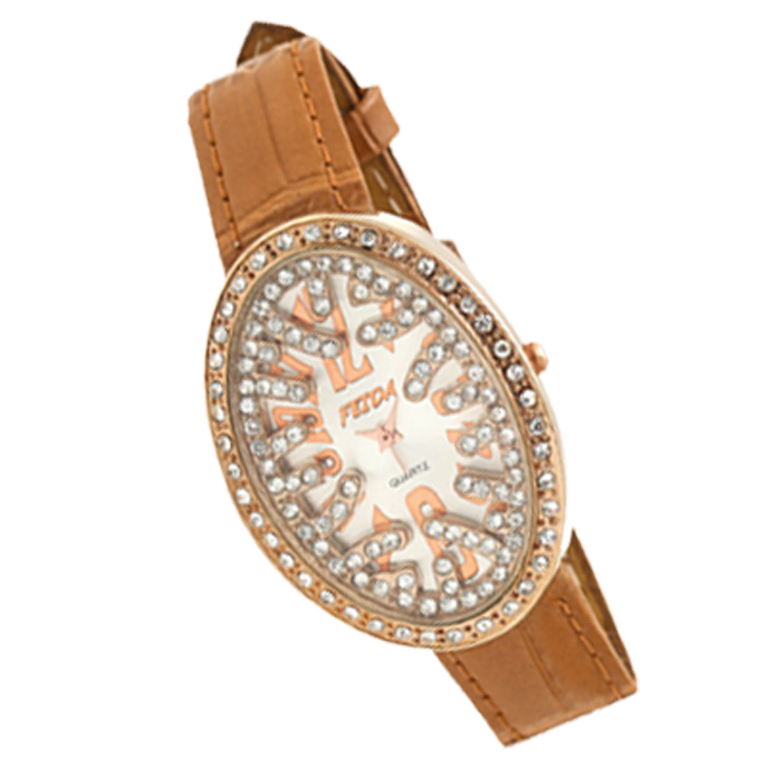 Bird's Nest Shaped Khaki Leather Rhinestone Lady's Wristwatch