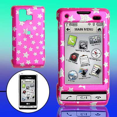 Amaranth Pink Hard Plastic Case with Silvery Star Pattern for LG VX9700