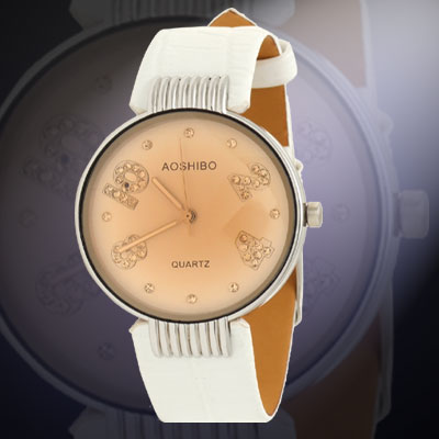 Fashion Jewelry White Leather Strap Watchband Round Ladies' Wrist Watch