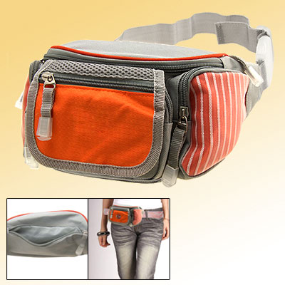 Travel Waist Pouch Belt Bag Leisure Fanny Hip Pack W/5 Compartments Orange and Gray