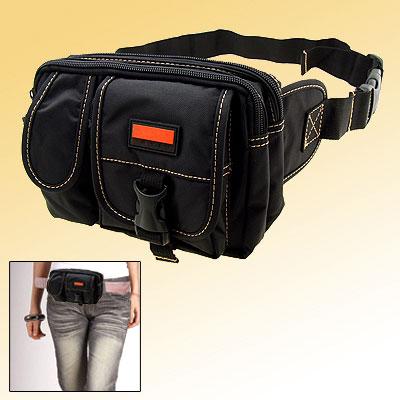 Travel Leisure Nylon Fannie Waist Pouch Belt Hip Pack W/5 Compartments Black