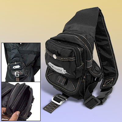 Small Travel Bag Single Mono Strap Shoulder Triangle Backpack Black