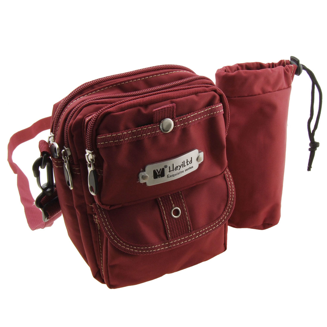 Zippered Leisure Mono Single Shoulder Pack W/ Sports Bottle Scarlet