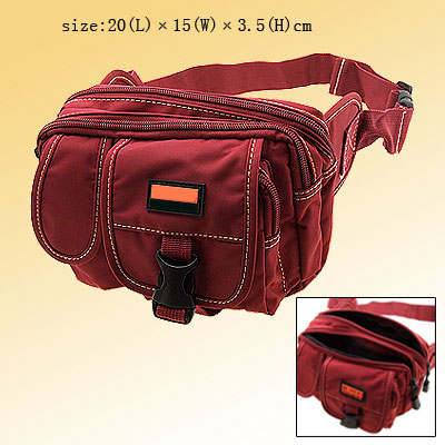 Travel Camp Nylon Fannie Waist Pouch Belt Hip Pack W/5 Compartments Scarlet