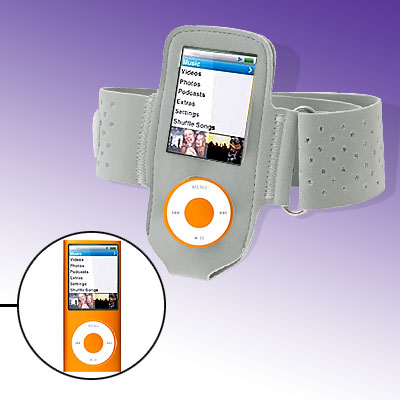 Gray Sports Soft Hook and Loop Fastener Armband for iPod Nano Chromatic 4G 4th Gen