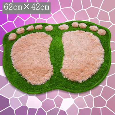 Bathroom Kitchen Plush Footprint Pattern Anti-Slip Bath Mat Pad Carpet