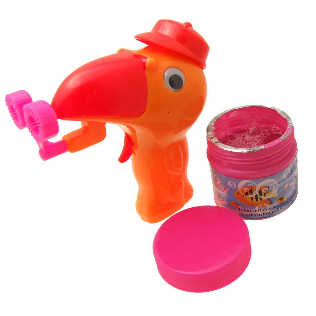 Red Mouth Orange Bird Hubble Bubble Children's Water Toy
