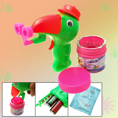 Red Sharp Mouth Bird Green Hubble Bubble Soap Water Gun Toy for Children