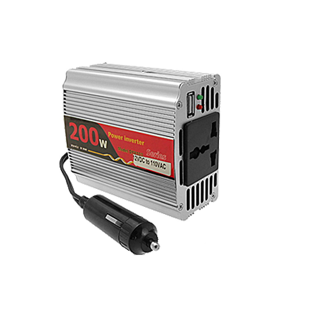 200W DC 12V to AC110V Car Power Inverter Adapter with USB Port