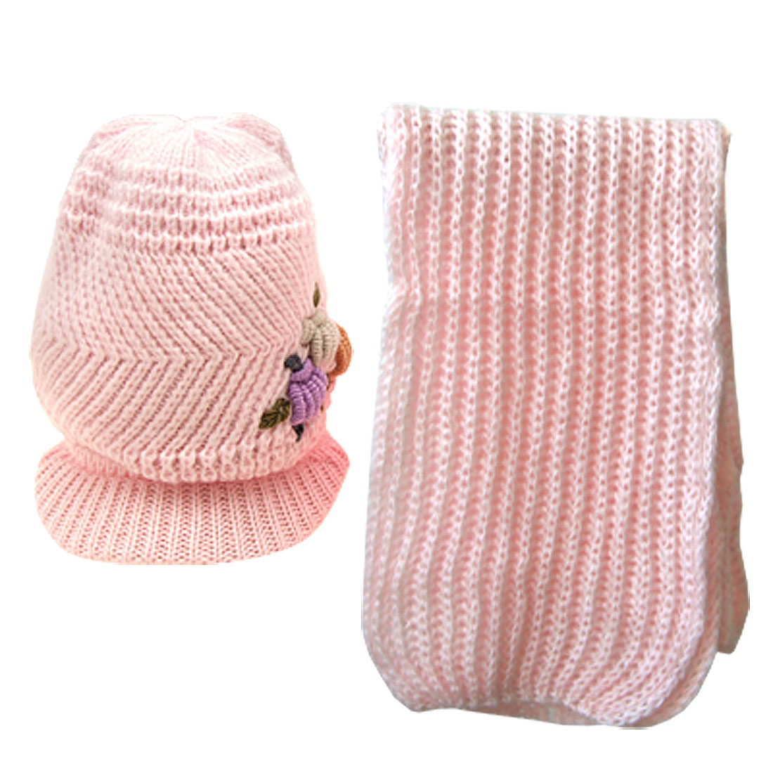 Pink Crochet Girls Ski Visor Beanie Hat Cap and Scarf
