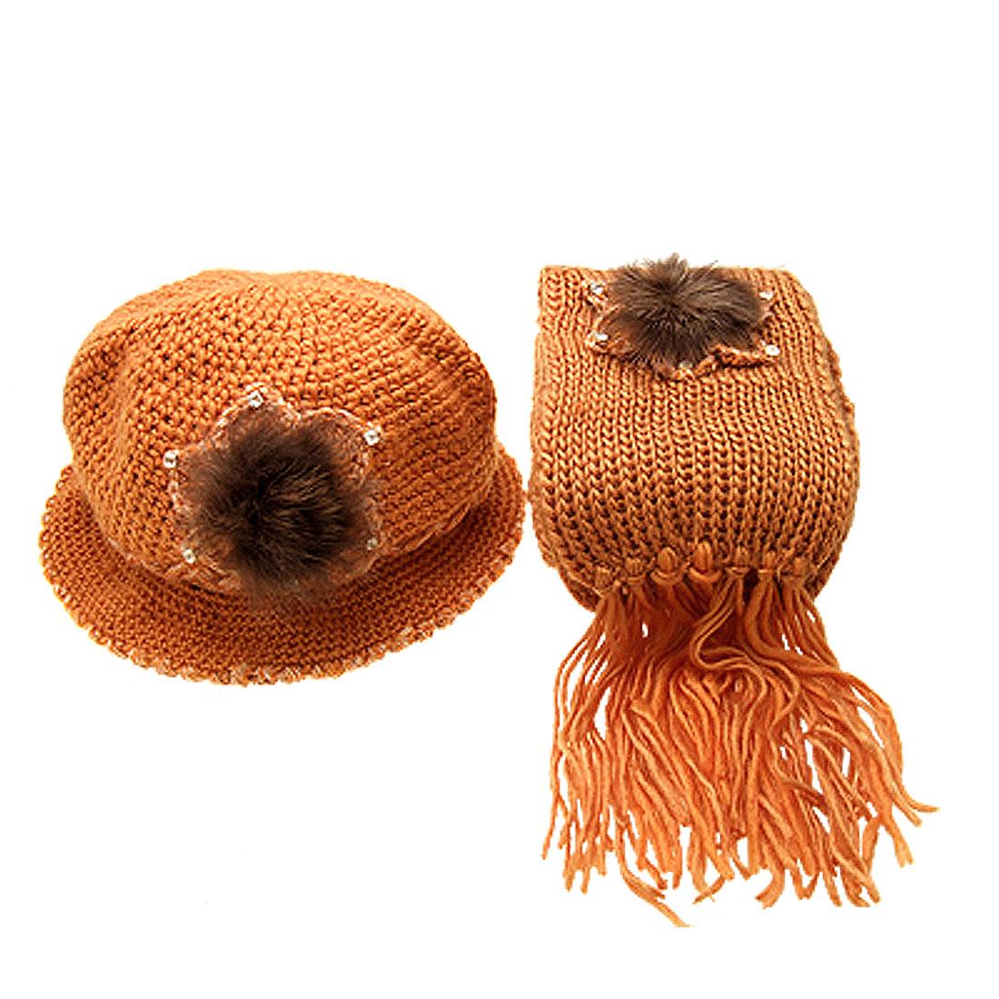 Fashion Girls Winter Knit Flapper Hat Cap with Scarf Orange