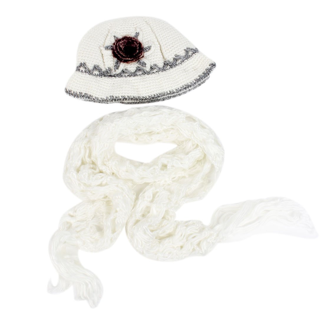 White Girls Winter Crochet Flapper Cloche Hat Cap and Scarf