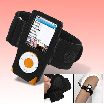 Soft Hook and Loop Fastener Armband for iPod Nano 4G 4th Gen Black