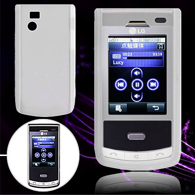 Clear White Protective Silicone Case for LG KF750 / KF755