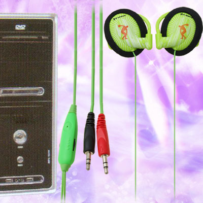 Soft Ear Pad 3.5mm Earphone Microphone with Hook Green for PC Computer