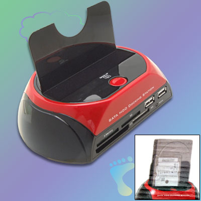 "US Plug 100-240V 2.5"" 3.5"" SATA Hard Drive Docking Station + USB Hub"