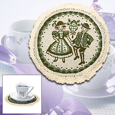 Green Couple Lovers Pattern Round Tea Cup Coaster Mat Pad
