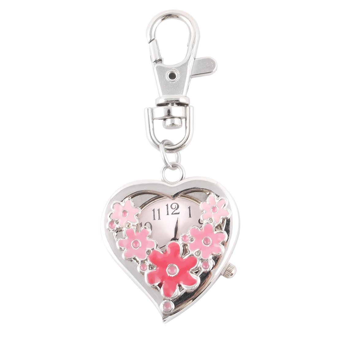 Women Metal Sweet Heart Flower Pattern Pendant Key Chain Quartz Watch Clock