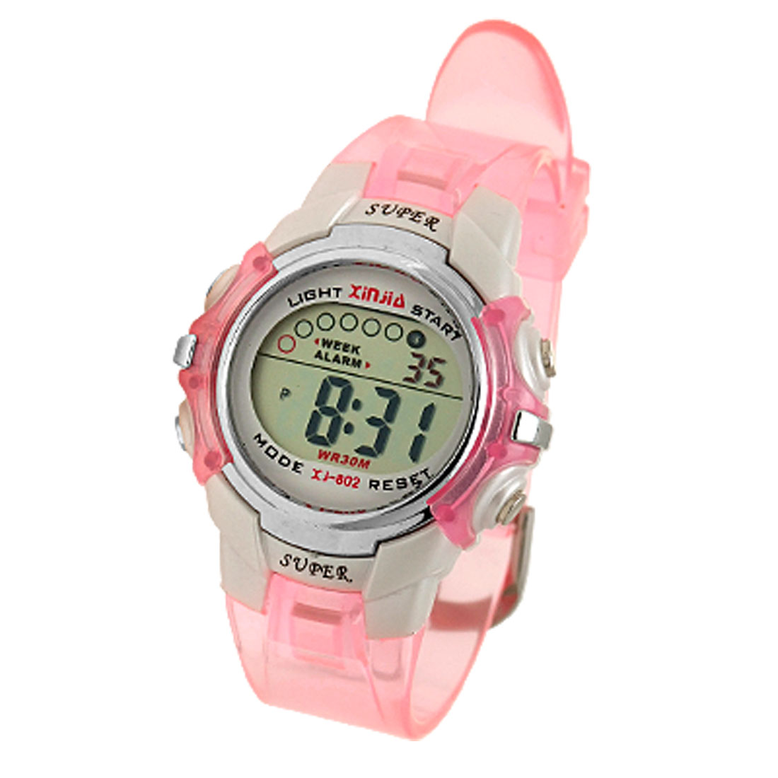 Children Pink Water Resistant Multifunction Plastic Sports Watch