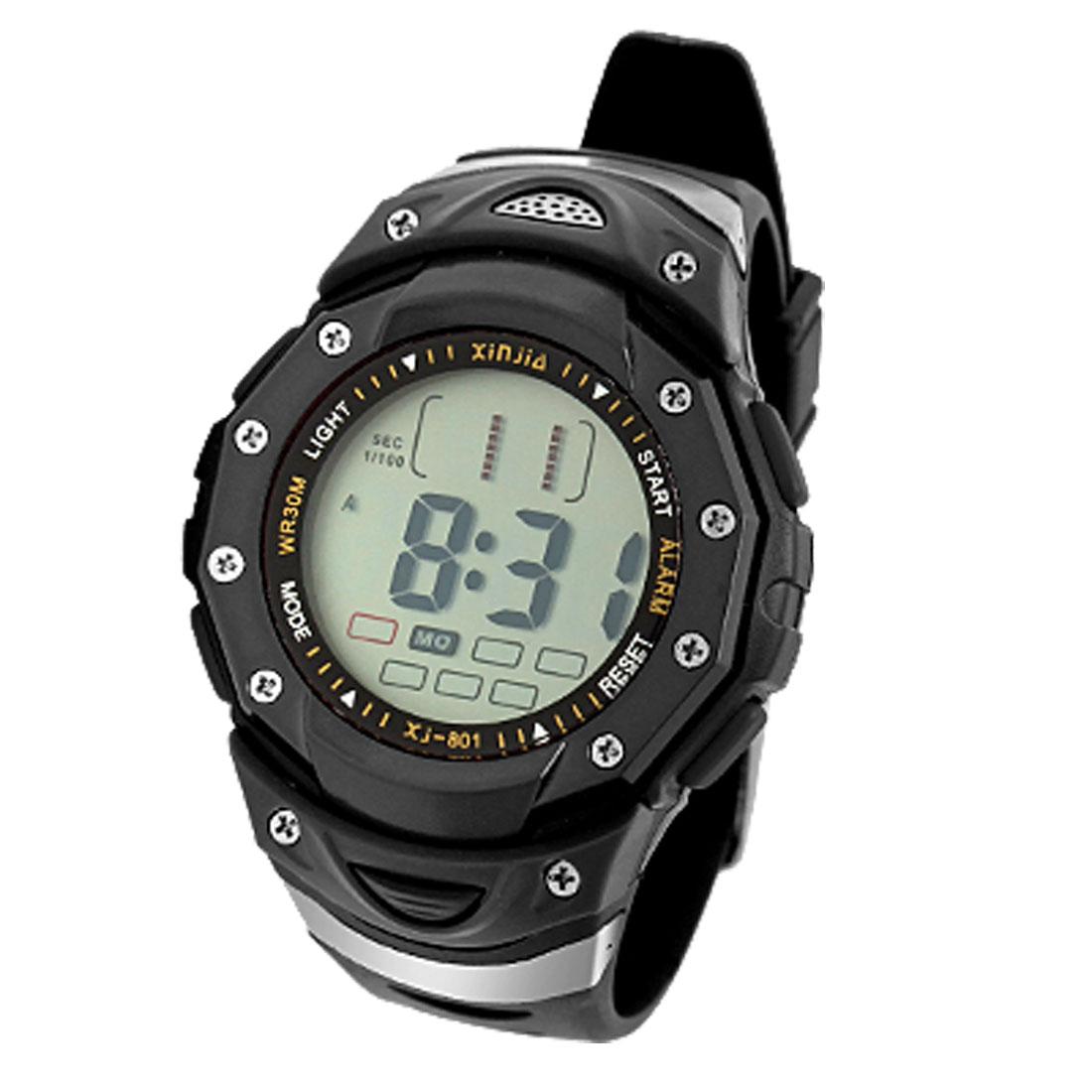 Black Unisex Digital Multifunction Water Resistant Sports Watch