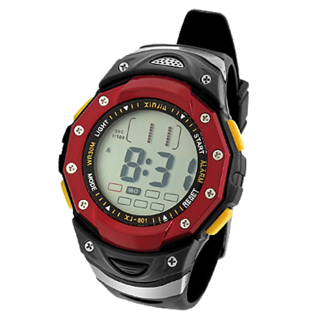 Red Black Unisex Digital Multifunction Water Resistant Sports Watch