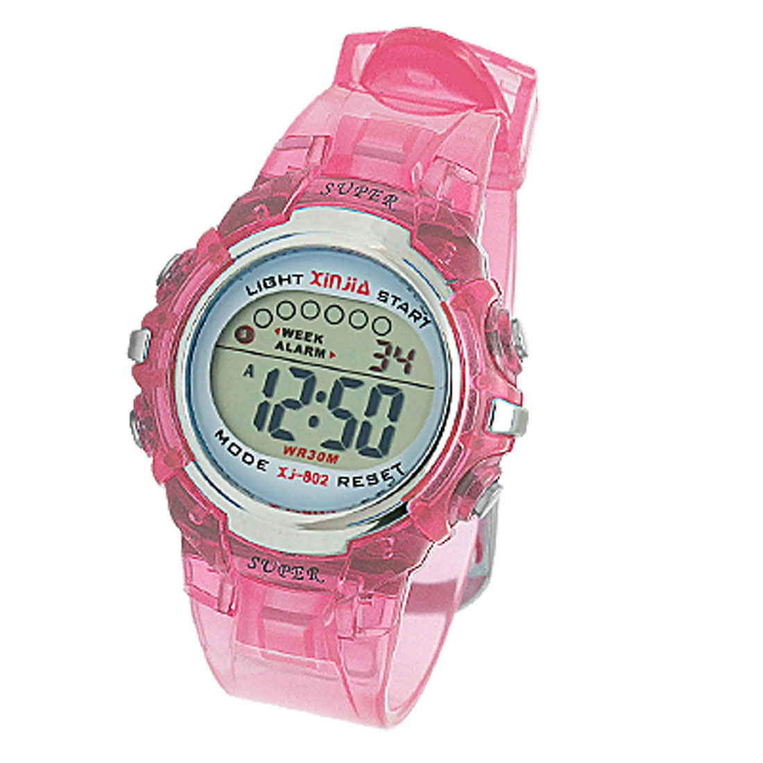 Pink Multifunction Water Resistant Plastic Sports Watch for Children