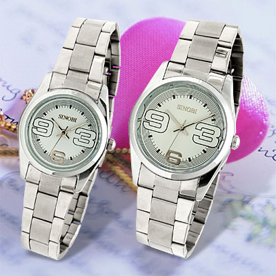 Couple Pair White Dial Steel Band Numeral Lovers' Quartz Watches