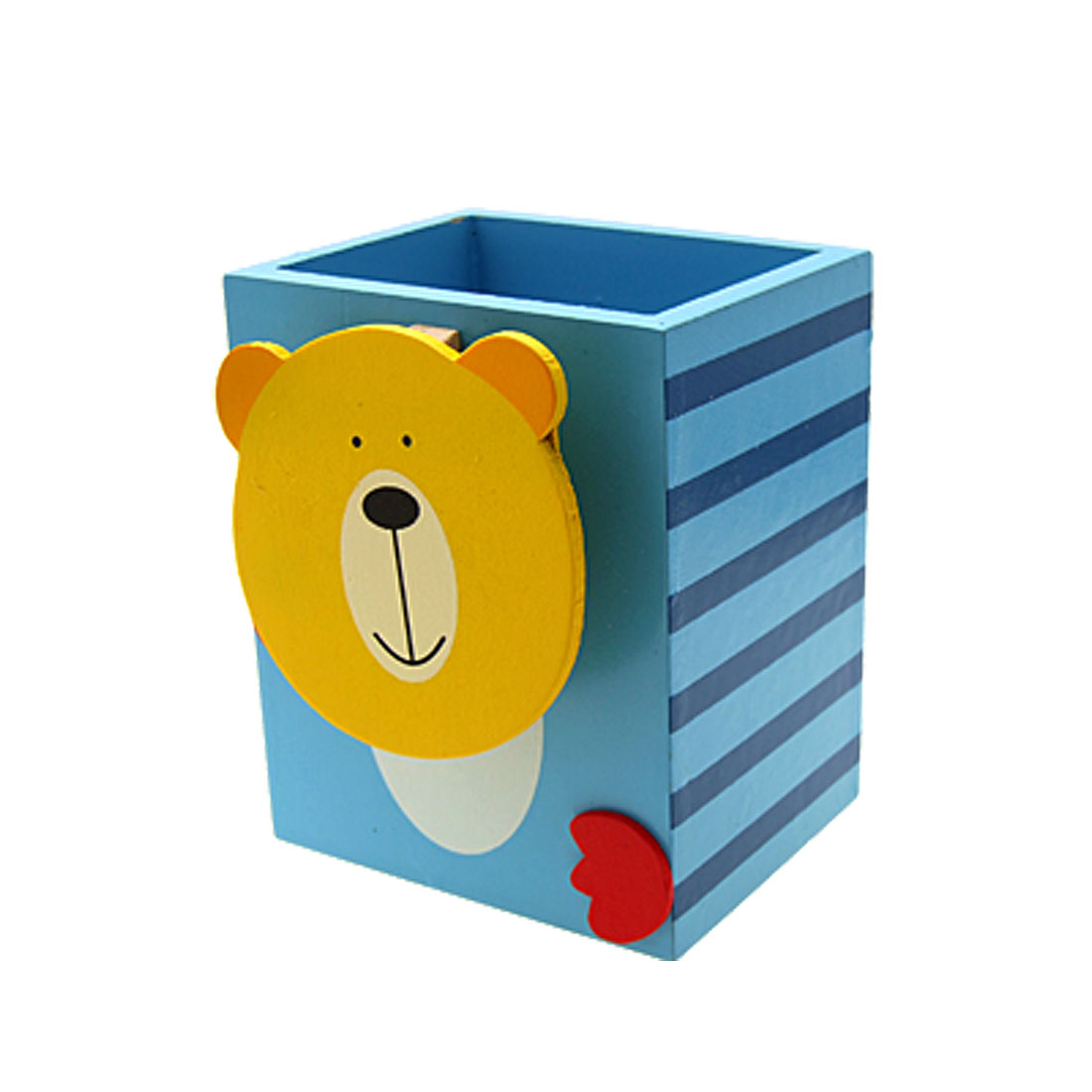 Bear Art Wooden Pen Pencil Holder Cup Blue with Memo Clip