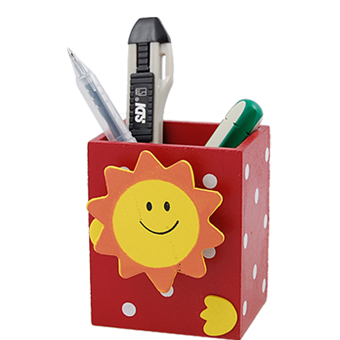 Cartoon Red Wooden Pencil Pen Vase Holder with Memo Clip
