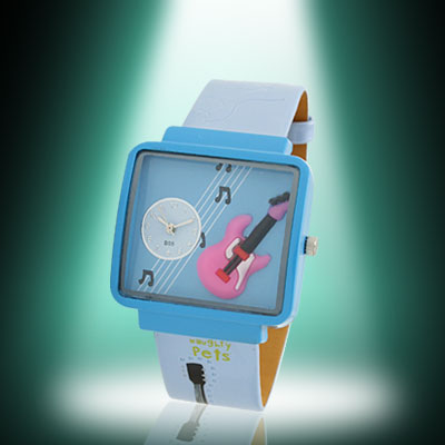 Fashion Jewelry Girls Blue Cartoon Leather Quartz Watch