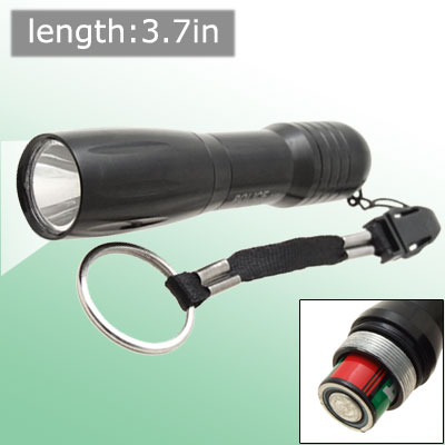3W Slick Aluminum Casing Black Super Bright Mini LED Torch with Key Ring